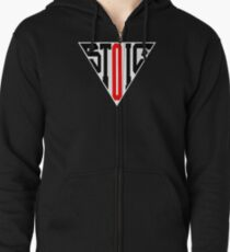 Stoic Triangle - Black Red Zipped Hoodie
