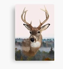 Whitetail Deer Double Exposure Canvas Print