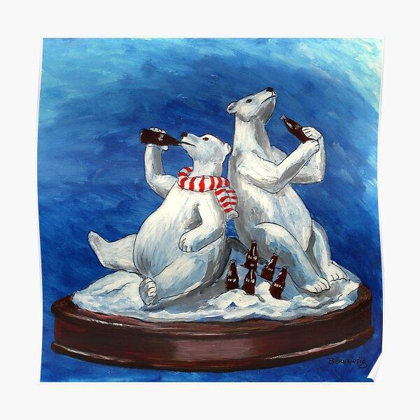 Festive holiday drinking cola polar bear sculpture Poster