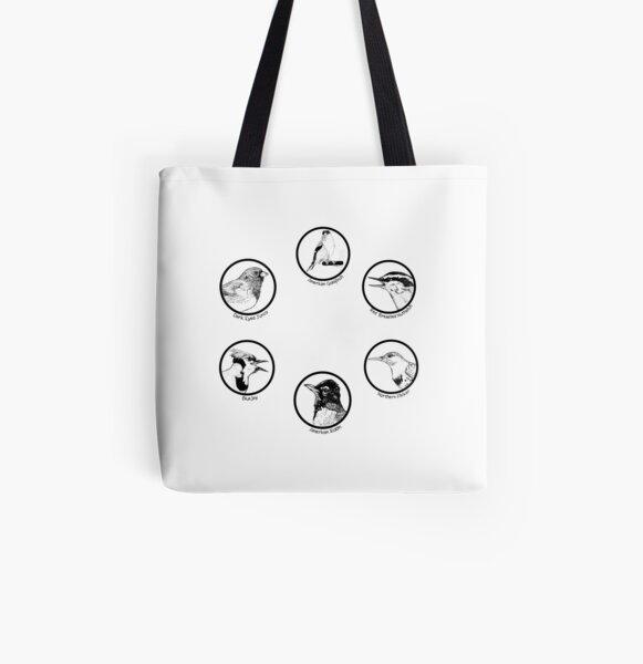 Six Original Bird Drawings - Composite All Over Print Tote Bag