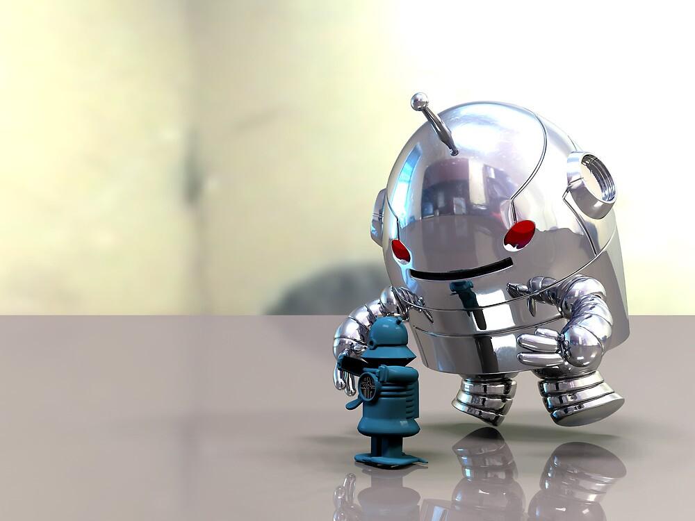 Jo Bot VS Little Blue Bot by mdkgraphics