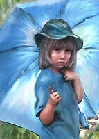 girl with blue umbrella by jashumbert