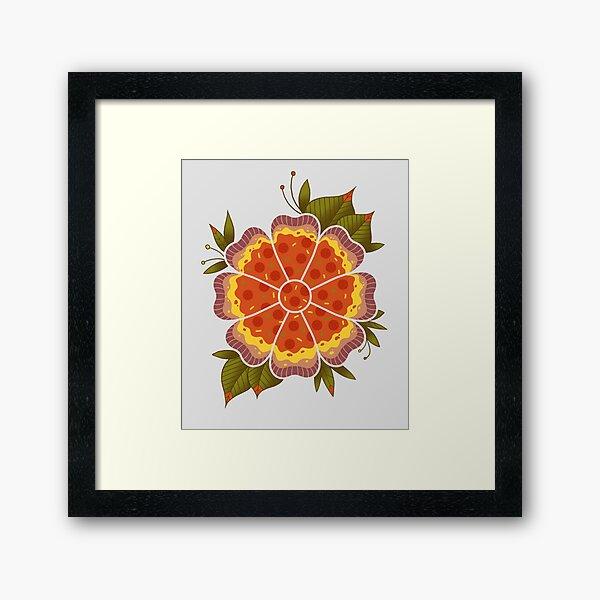 Pizza Flower Framed Art Print