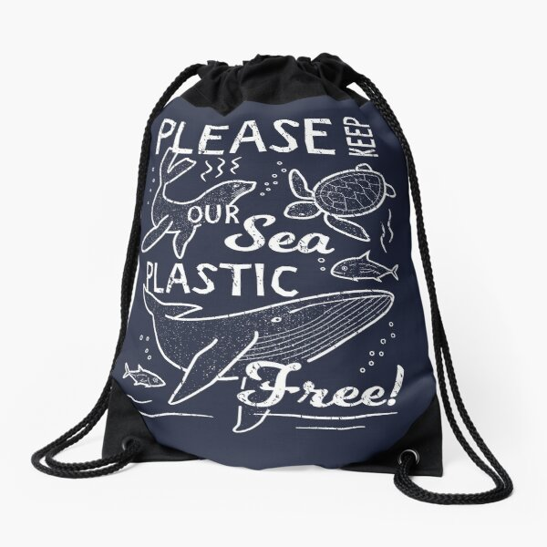 Please Keep Our Sea Plastic Free - Marine Animals Drawstring Bag