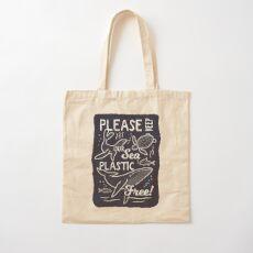 Please Keep Our Sea Plastic Free - Marine Animals Cotton Tote Bag