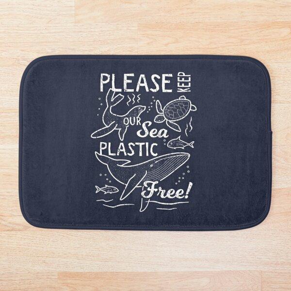 Please Keep Our Sea Plastic Free - Marine Animals Bath Mat