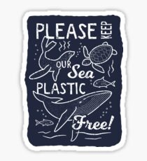 Please Keep Our Sea Plastic Free - Marine Animals Sticker