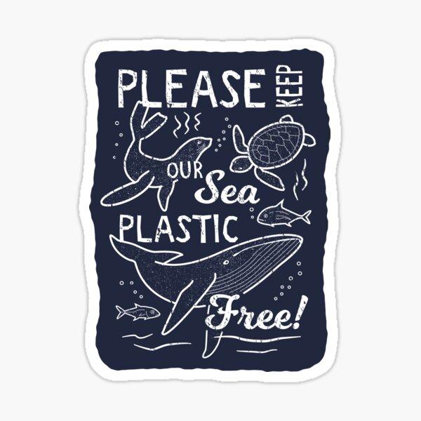 Please Keep Our Sea Plastic Free - Marine Animals Sticker