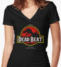 Jurassic Dresden Women's Fitted V-Neck T-Shirt