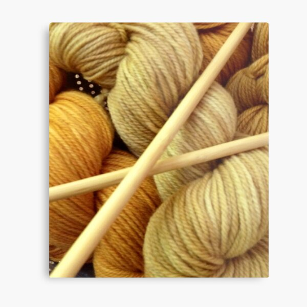 Hand Dyed Wool with Knitting Needles Metal Print
