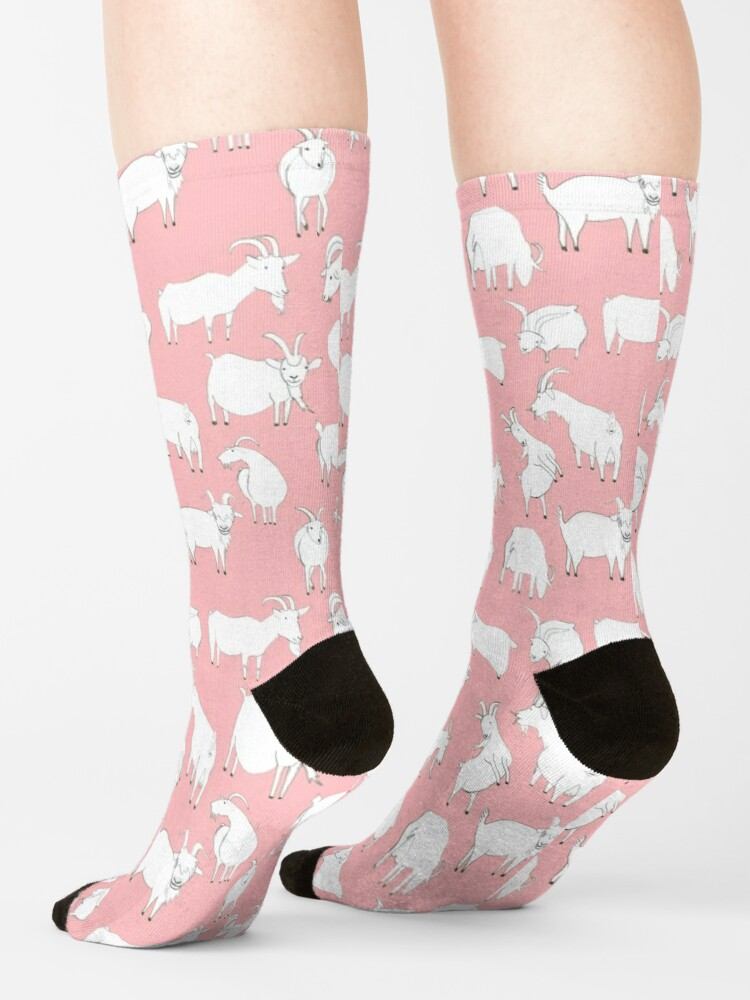 Alternate view of Goats Playing – Pink Socks