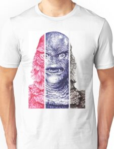 Creature From the Black Lagoon,  A ball point pen portrait.  Unisex T-Shirt