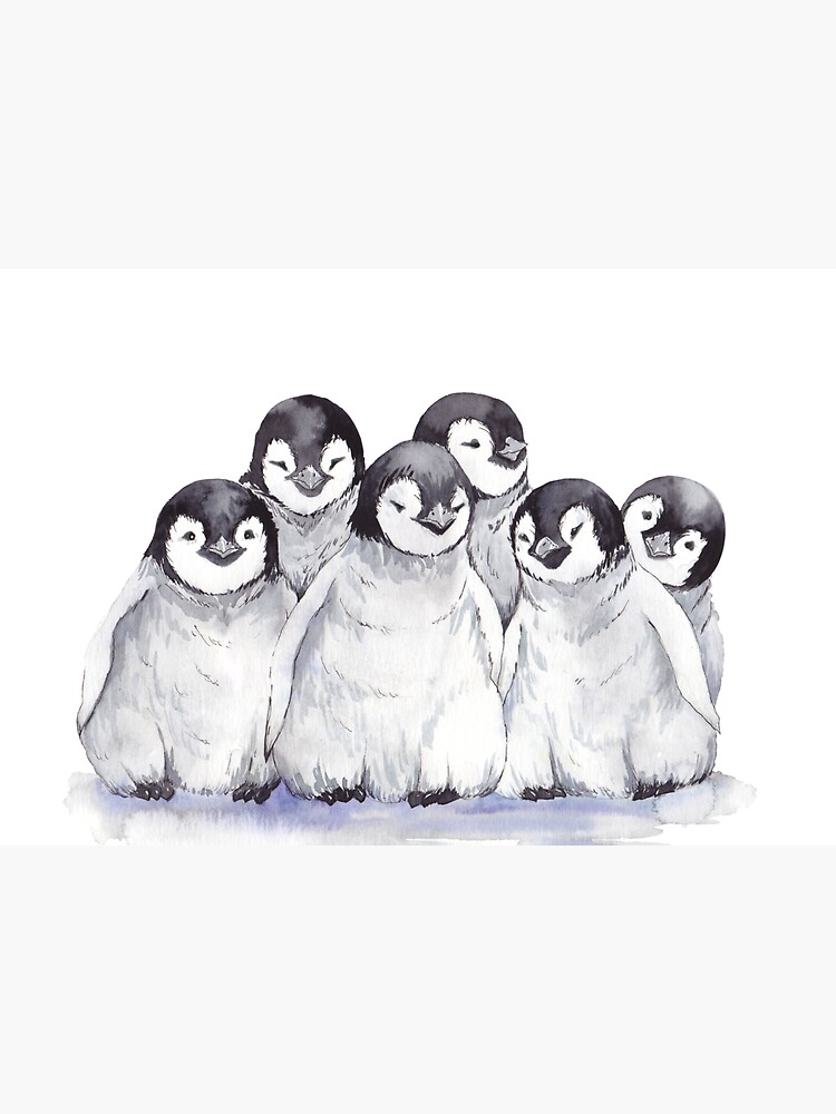 Cute gray baby penguins by jeannadano
