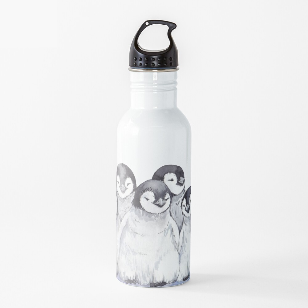 Cute gray baby penguins Water Bottle