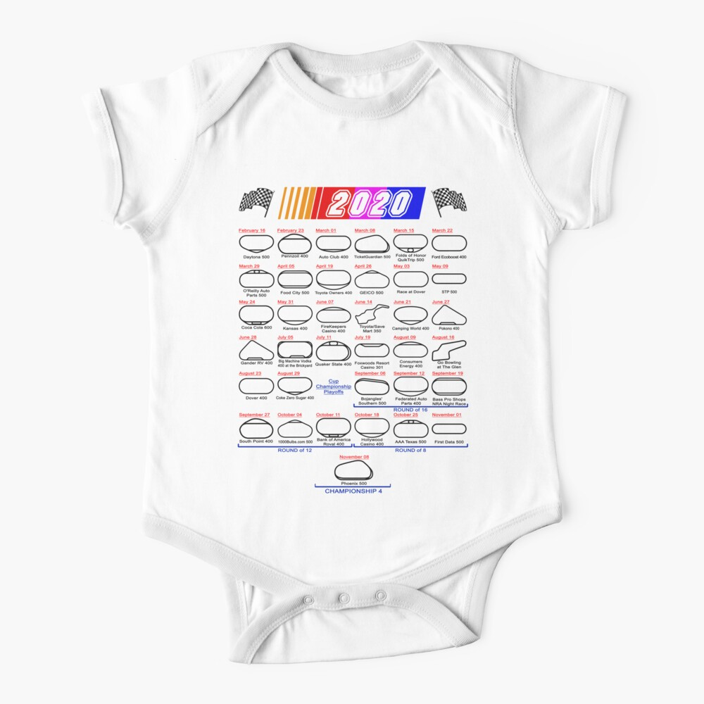 Schedule Nascar Cup Series 2020 white Baby One-Piece