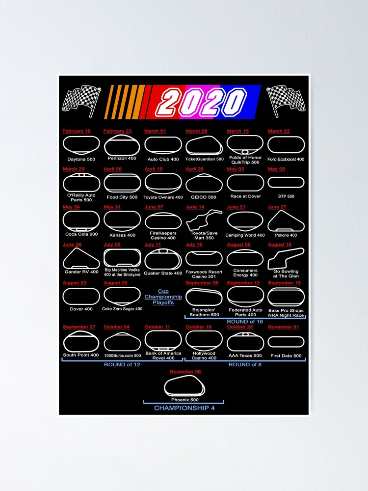 """Schedule Nascar Cup Series 2020"""" Poster by ideasfinder 