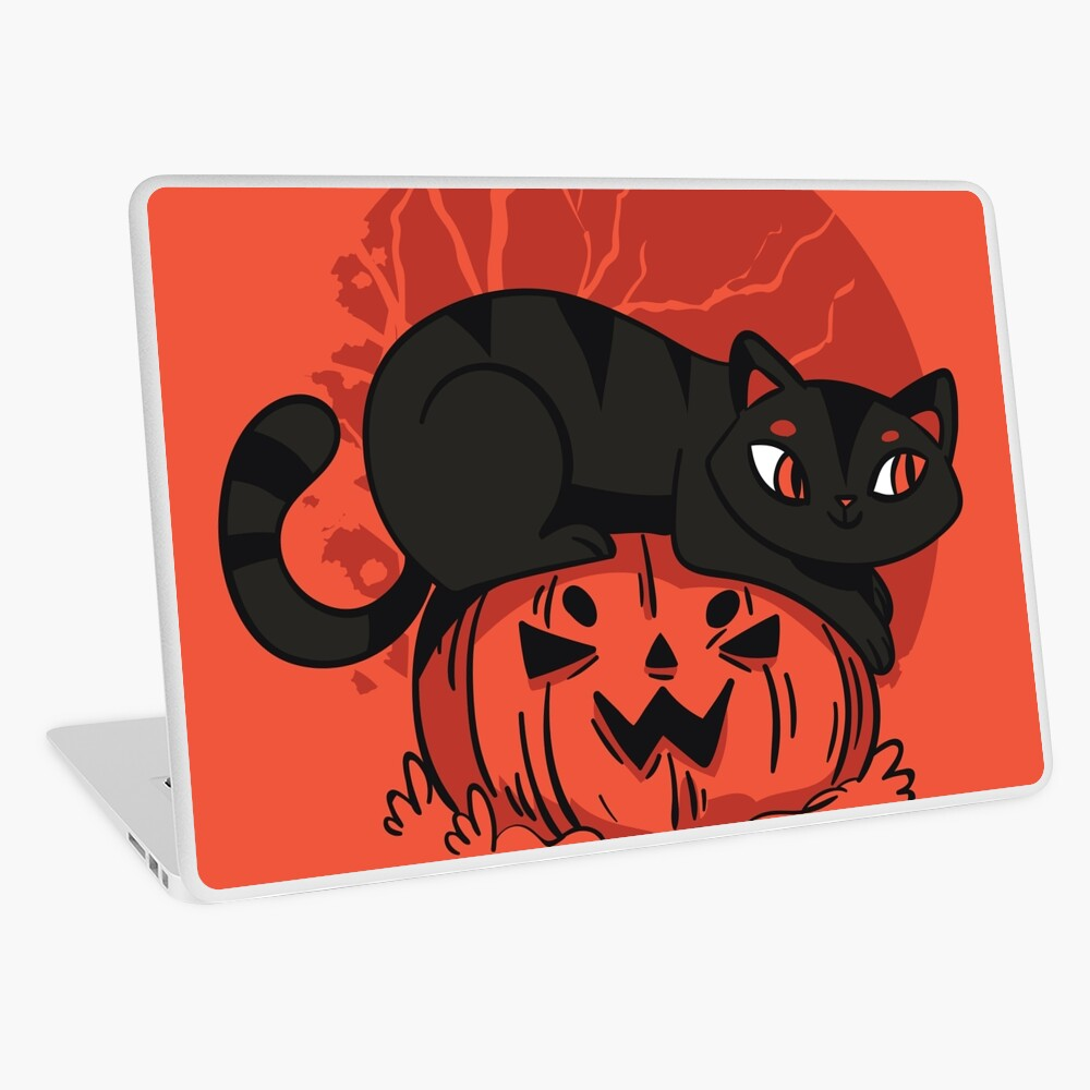 Black Cat Halloween Laptop Skin