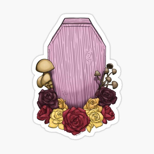 Powder Pink Coffin Sticker
