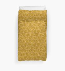 Dotted Scallop Pattern in Gold Duvet Cover