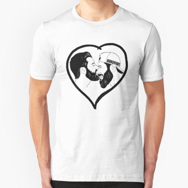 Love is Love - the kiss - black lines Slim Fit T-Shirt