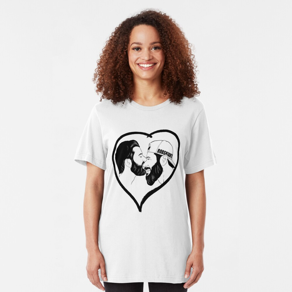 Love is Love - the kiss - black lines Slim Fit T-Shirt