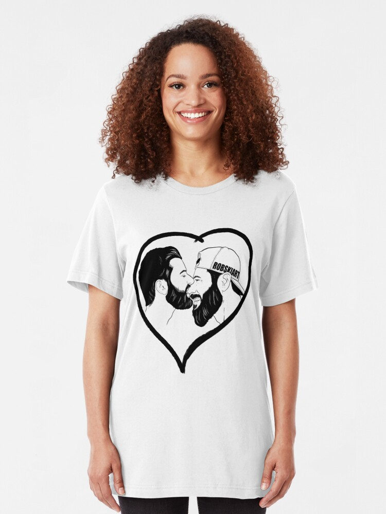 Alternate view of Love is Love - the kiss - black lines Slim Fit T-Shirt