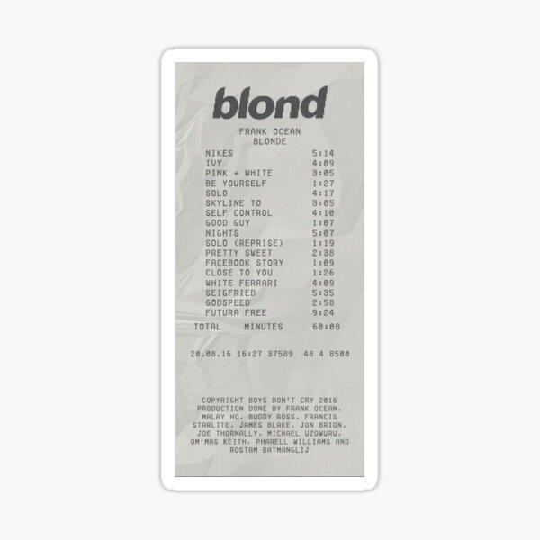 Frank Ocean- Blond Receipt  Sticker