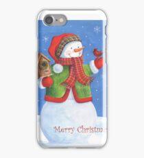 Cute snowman, birdhouse and cardinal iPhone Case/Skin