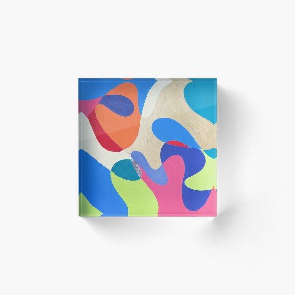 Rainbow Waves Acrylic Block