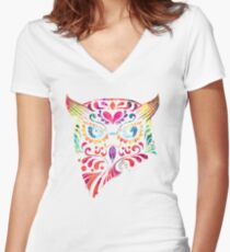 COLORFUL CANDY OWL Women's Fitted V-Neck T-Shirt
