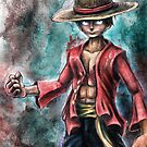 The King of Pirates a Tra-Digital Portrait of Luffy by barrettbiggers