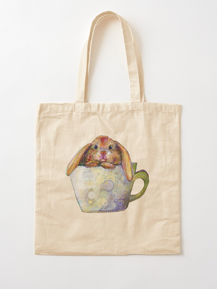 Alternate view of Bunny in a teacup painting - 2010 Tote Bag