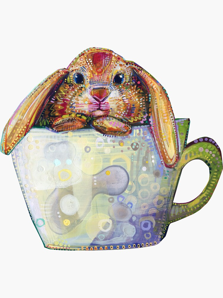Bunny in a Teacup Painting - 2010 by gwennpaints