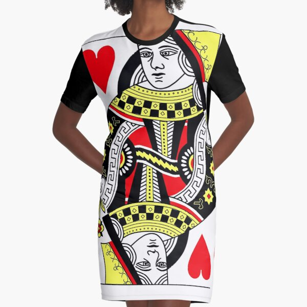 Queen of Hearts Classic Card Deck Casino Poker Q Hearts Graphic T-Shirt Dress