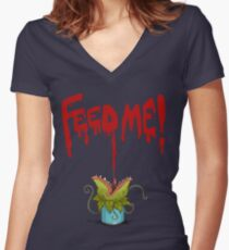 Feed Me (Little Audrey) Women's Fitted V-Neck T-Shirt