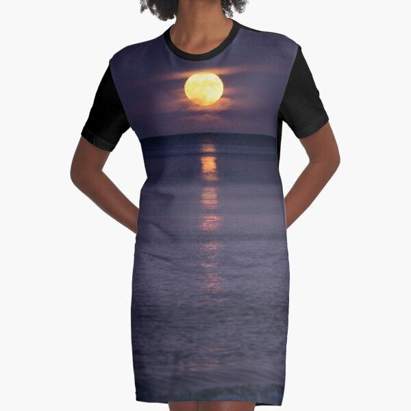 Full Moon Rise Graphic T-Shirt Dress