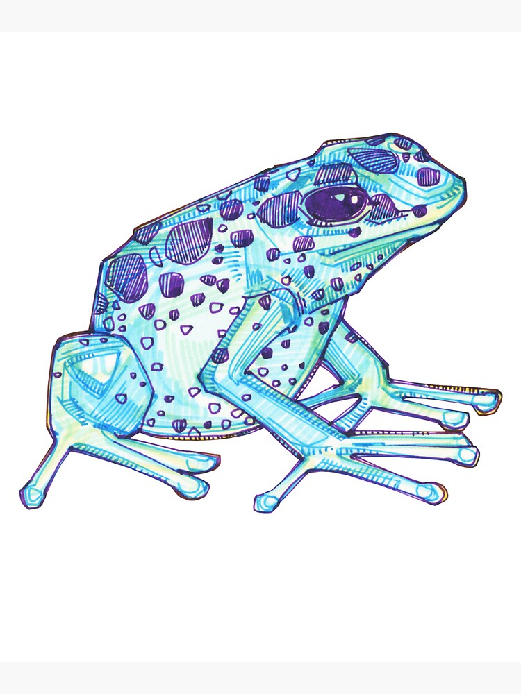 Blue poison dart frog drawing - 2017 by gwennpaints