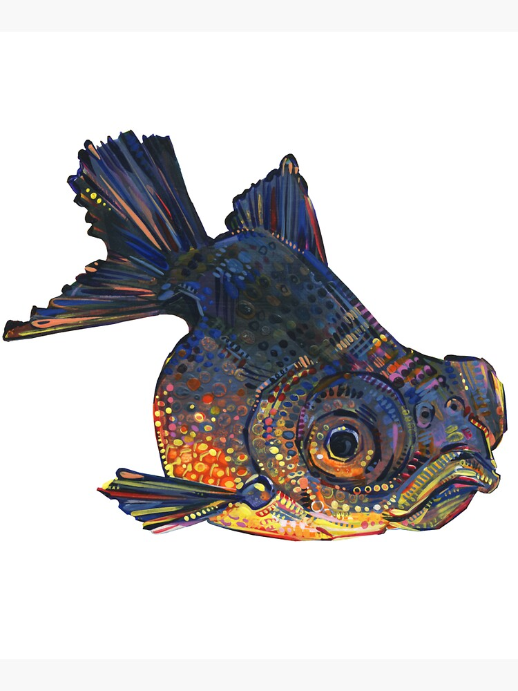 Black telescope goldfish painting - 2016 by gwennpaints