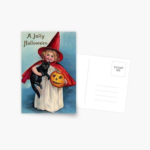 A Jolly Halloween Witch Cat and Pumpkin Postcard