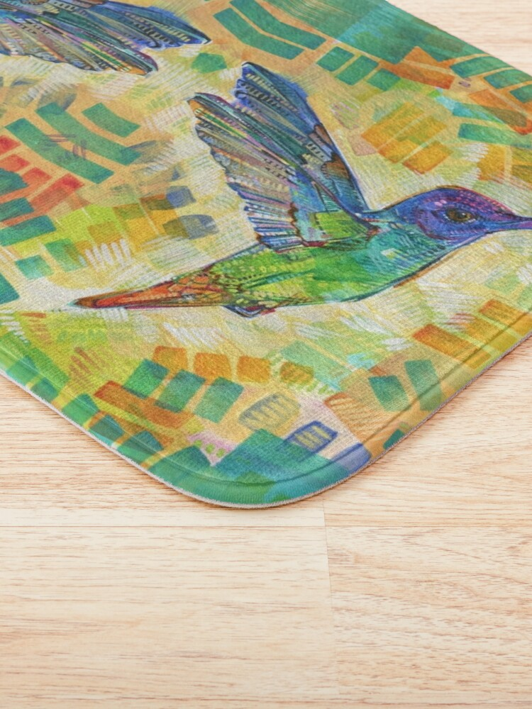 Alternate view of Golden-tailed sapphire hummingbird painting - 2016 Bath Mat
