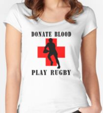 """Rugby """"Donate Blood Play Rugby"""" Women's Fitted Scoop T-Shirt"""