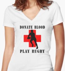 "Rugby ""Donate Blood Play Rugby"" Women's Fitted V-Neck T-Shirt"