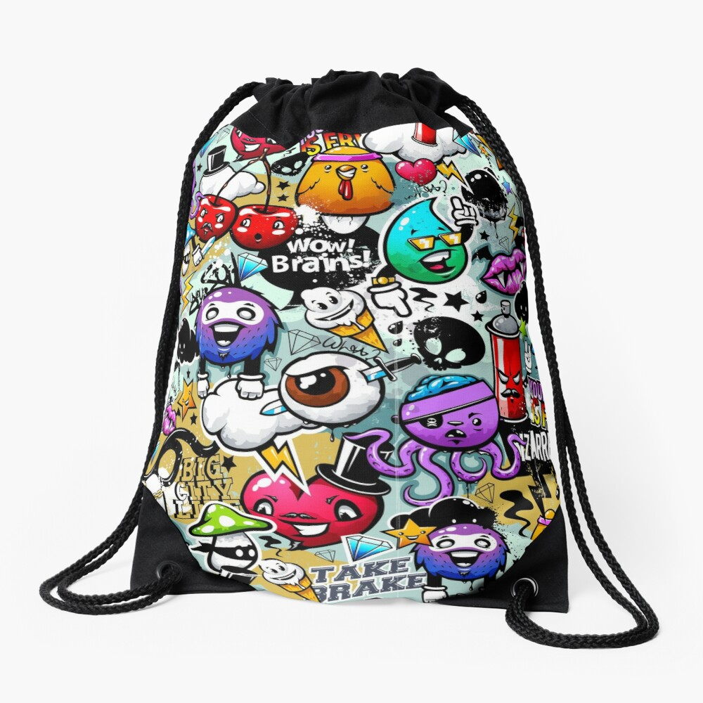 graffiti fun Drawstring Bag