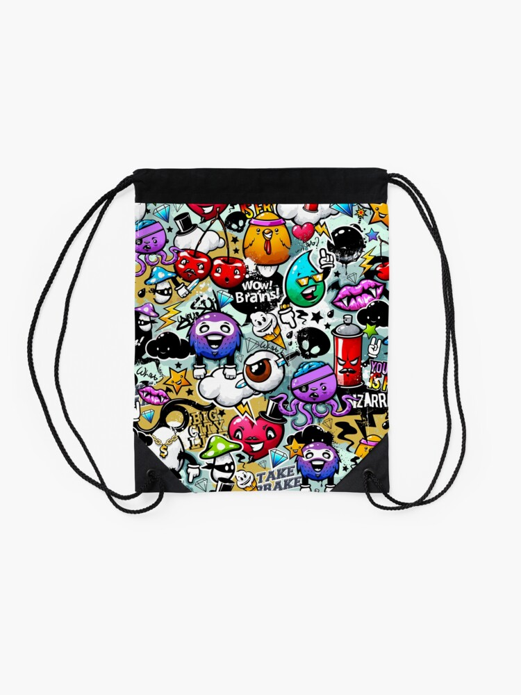 Alternate view of graffiti fun Drawstring Bag
