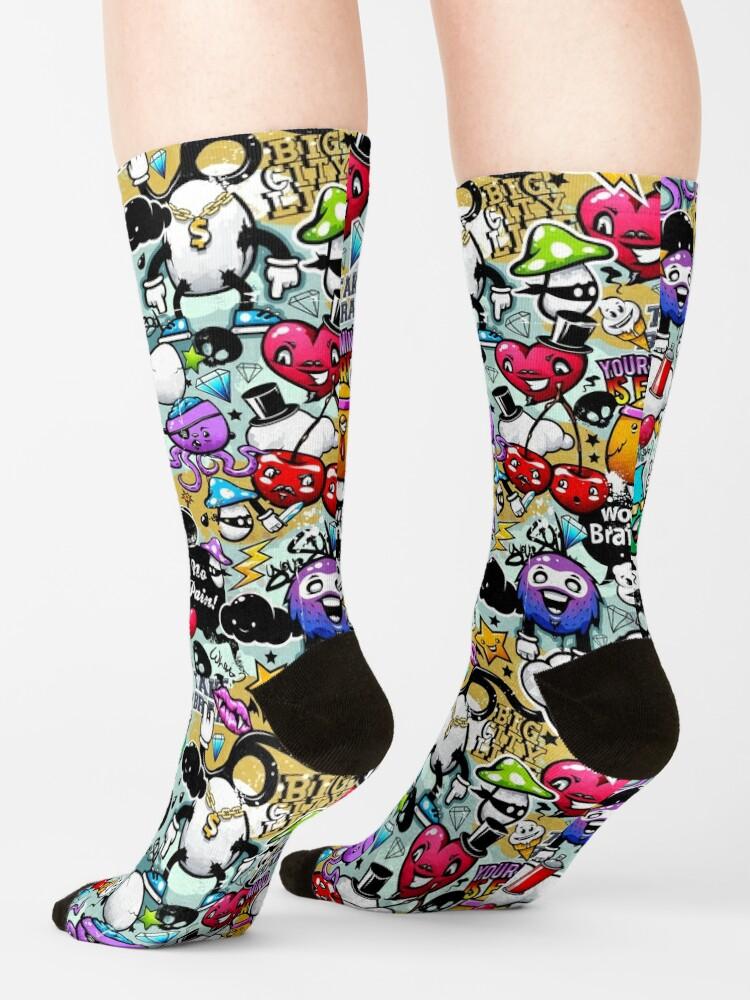 Alternate view of graffiti fun Socks