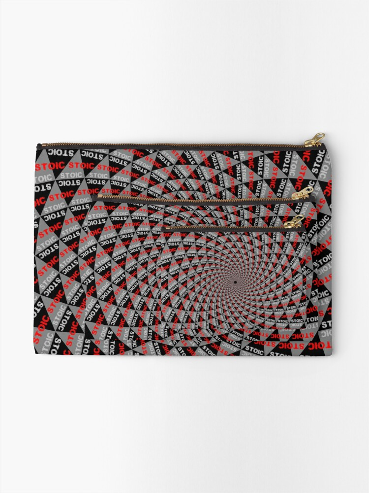 Alternate view of Stoic Flower - Red Grey Zipper Pouch
