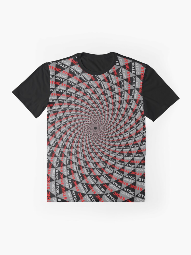 Alternate view of Stoic Flower - Red Grey Graphic T-Shirt