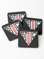 Stoic Triangle - Black Red Coasters