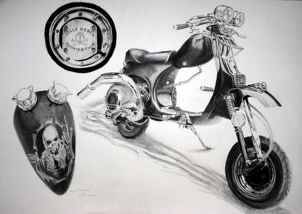 Skull Scooter by Lynn Hughes