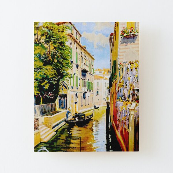 VENICE CANALS; Vintage Travel Advertising Print Wood Mounted Print